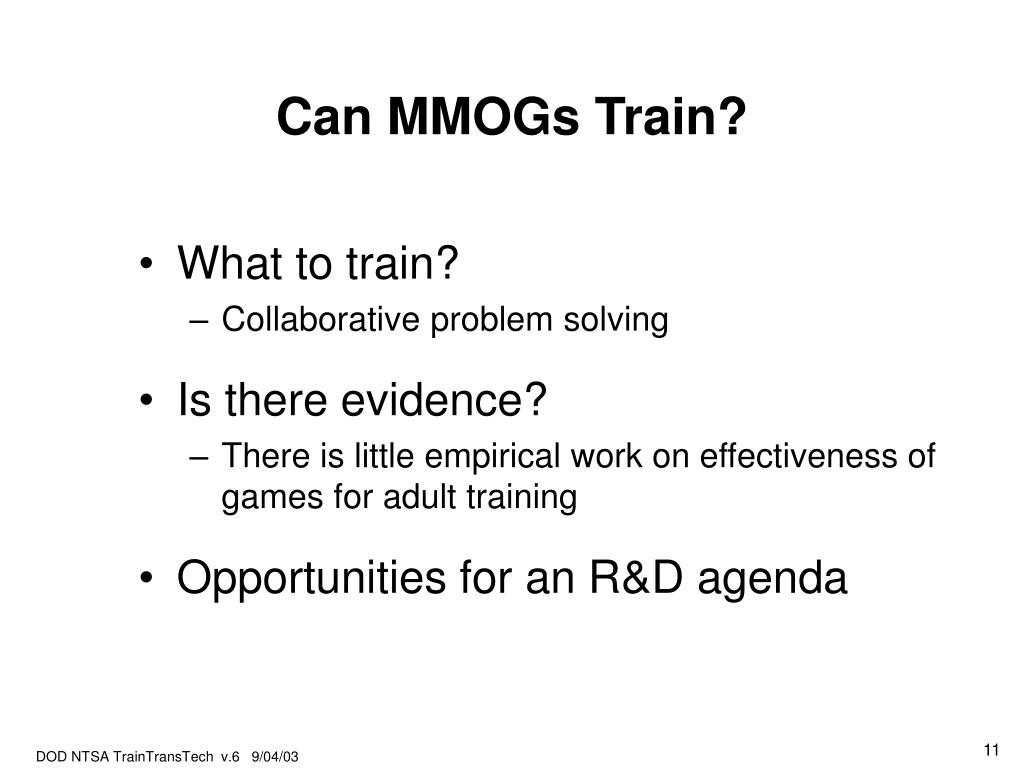 Can MMOGs Train?