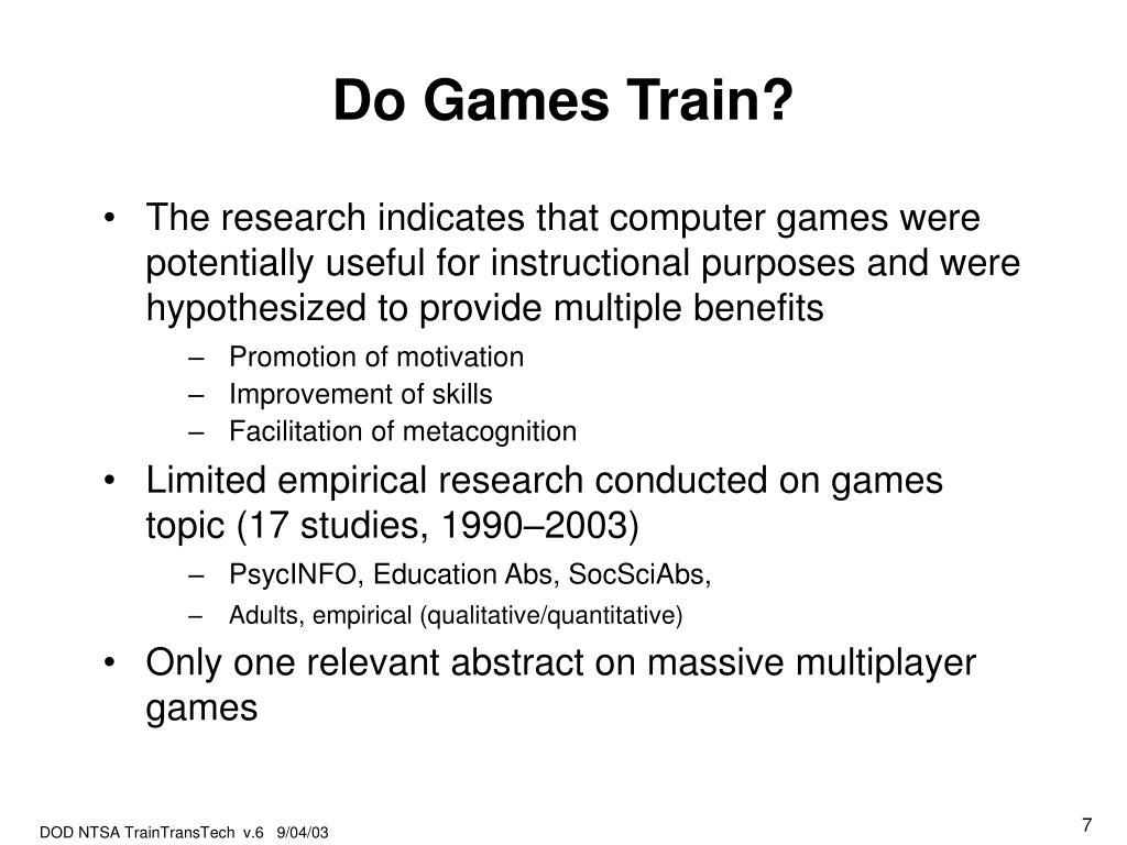 Do Games Train?