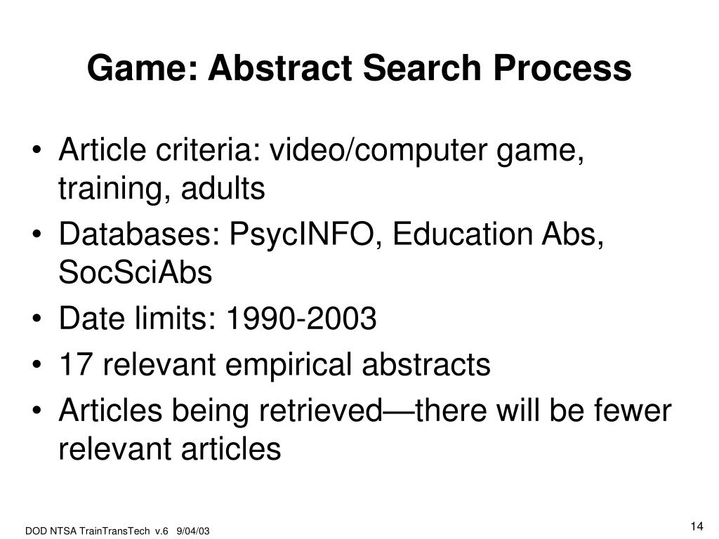Game: Abstract Search Process