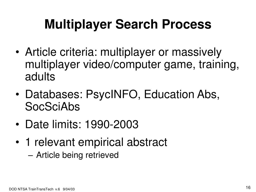 Multiplayer Search Process