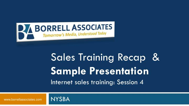 Sales training recap sample presentation internet sales training session 4