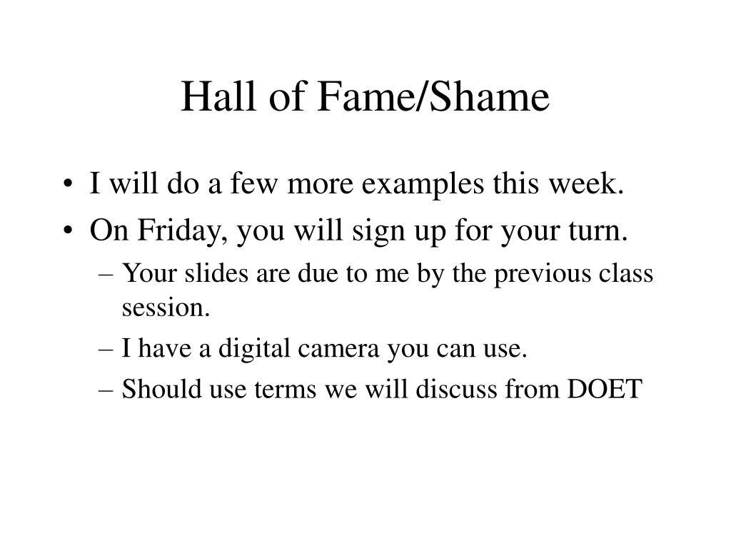Hall of Fame/Shame