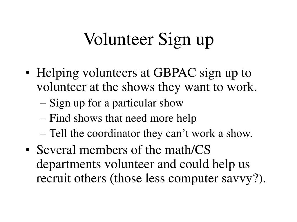 Volunteer Sign up