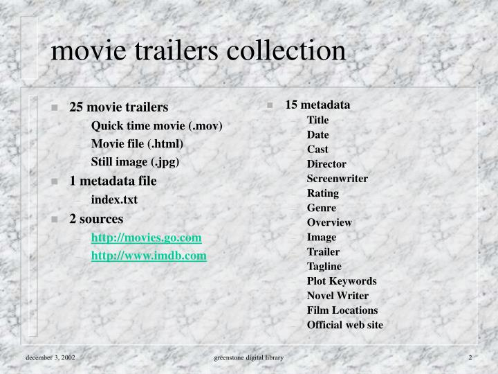 Movie trailers collection