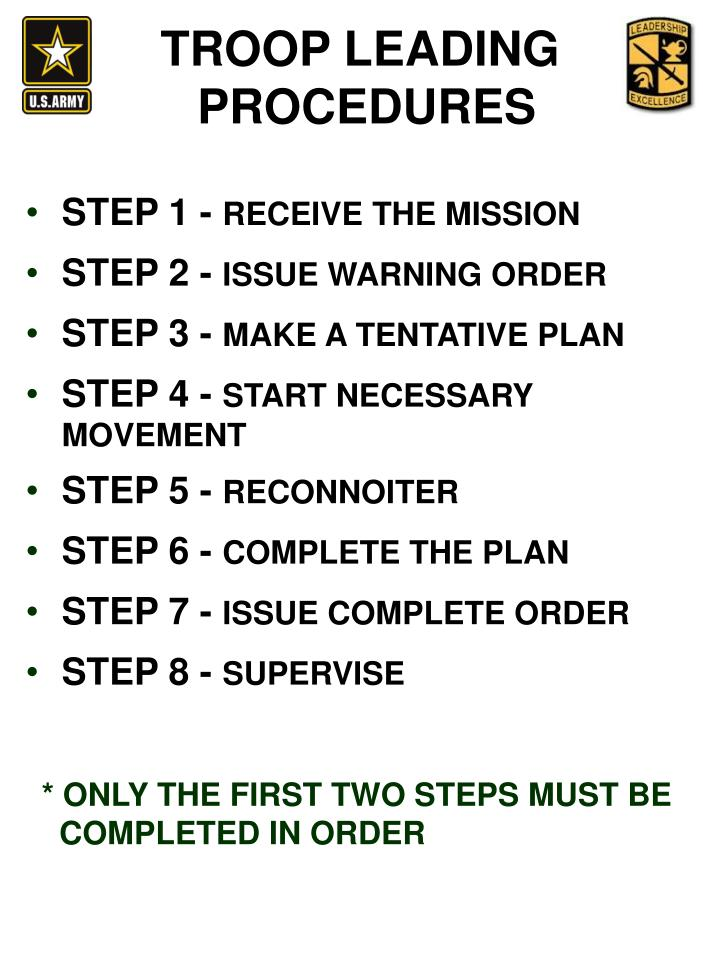 the troop leading procedures tlps and the The decision making tool for direct leaders is called the troop leading procedures the decision making tool for direct leaders is called the troop leading procedures these steps help you organize your efforts in planning and executing your mission step 1 receive the mission.