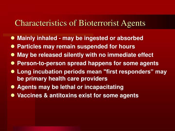 Characteristics of Bioterrorist Agents