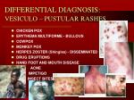 differential diagnosis vesiculo pustular rashes