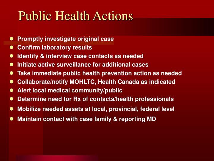 Public Health Actions