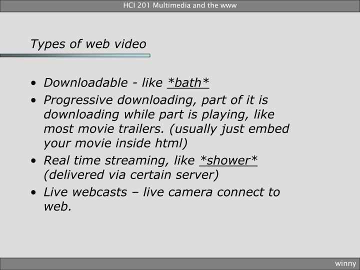 Types of web video