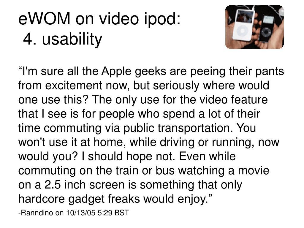 eWOM on video ipod: