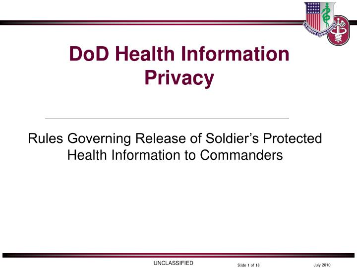 Dod health information privacy