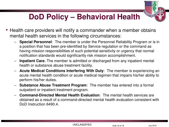 DoD Policy – Behavioral Health