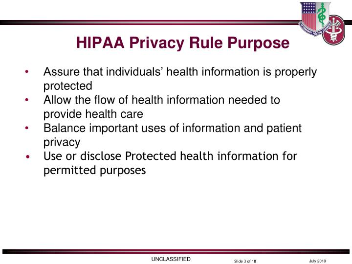 Hipaa privacy rule purpose