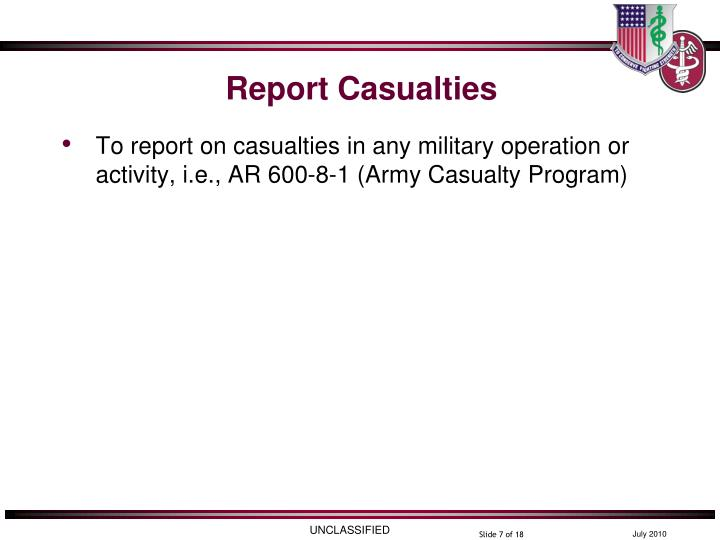 Report Casualties