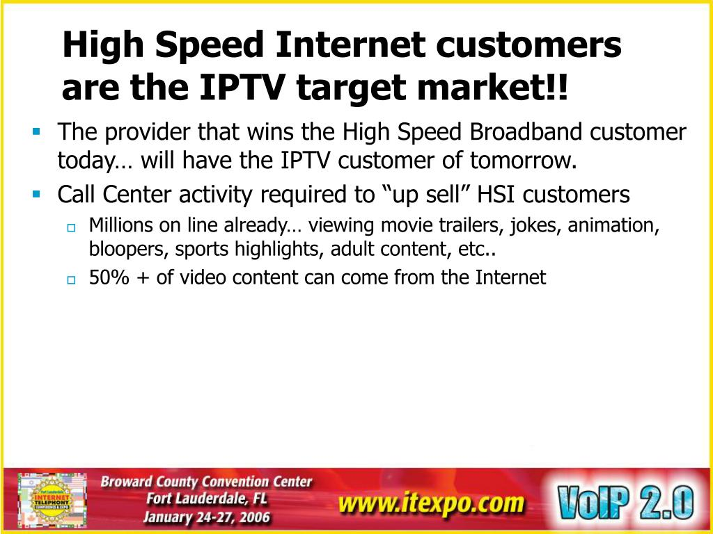 High Speed Internet customers are the IPTV target market!!