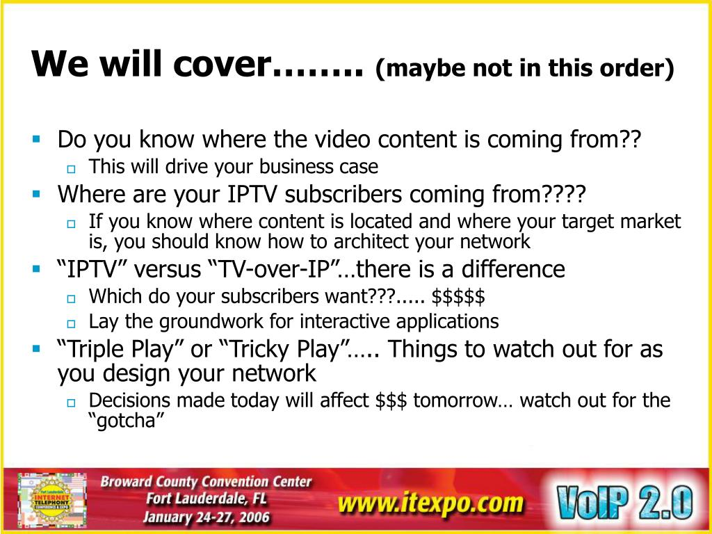 We will cover……..