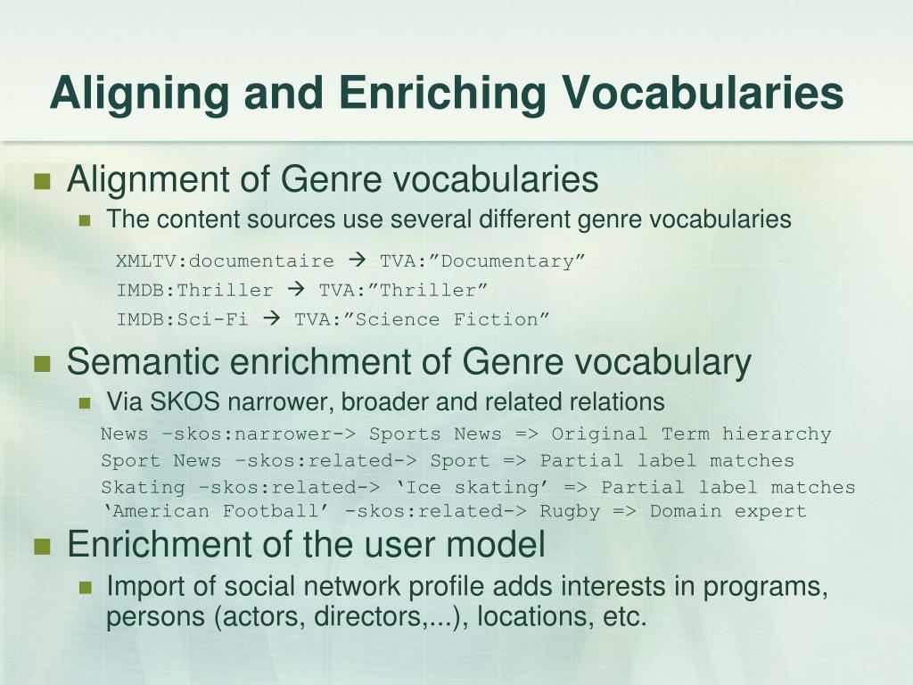 Aligning and Enriching Vocabularies