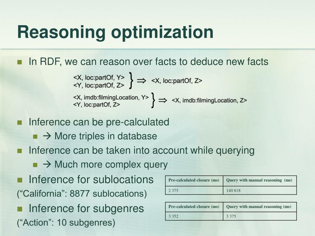 Reasoning optimization