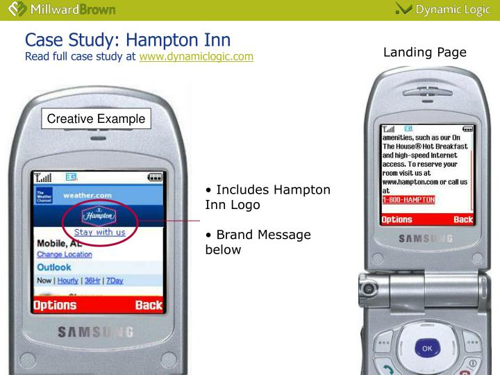 Case study hampton inn read full case study at www dynamiclogic com
