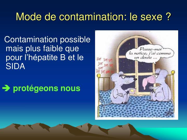 Mode de contamination: le sexe ?