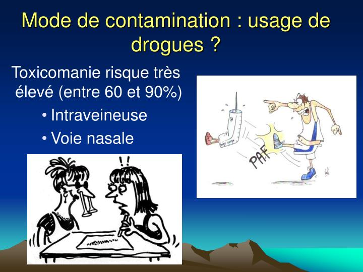 Mode de contamination : usage de drogues ?