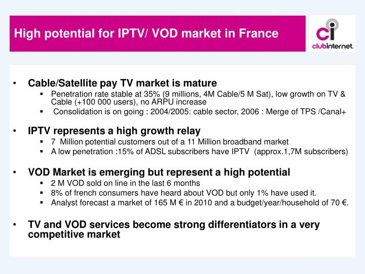 High potential for iptv vod market in france