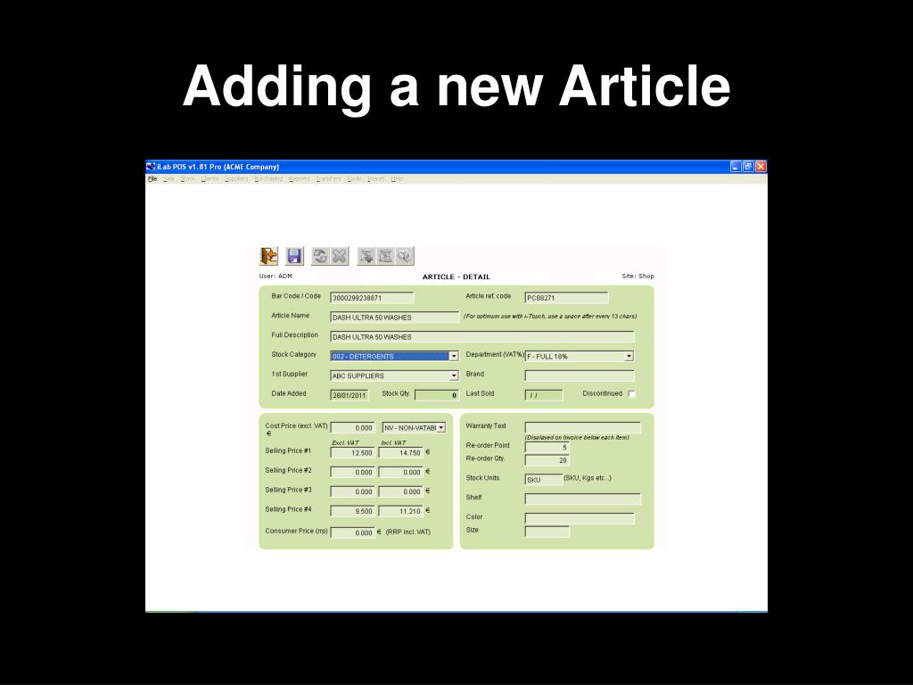 Adding a new Article