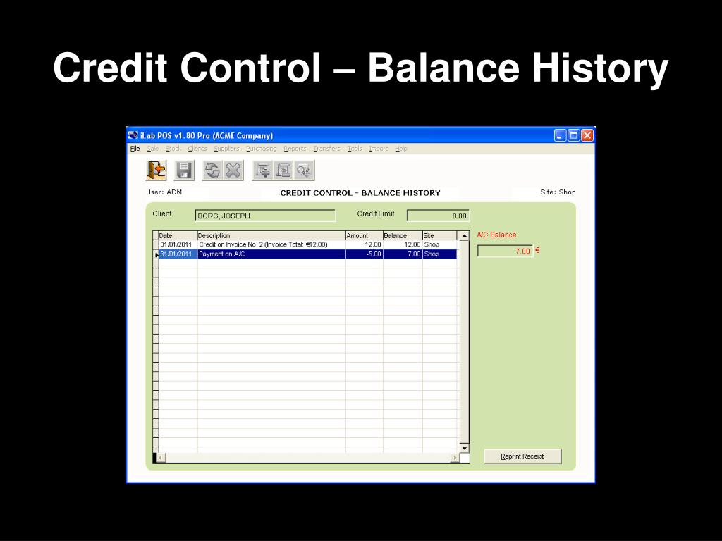 Credit Control – Balance History