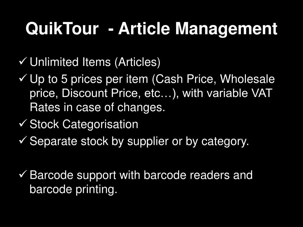 QuikTour  - Article Management