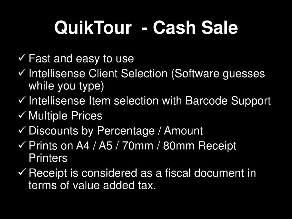 QuikTour  - Cash Sale