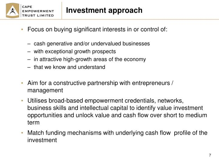 Investment approach