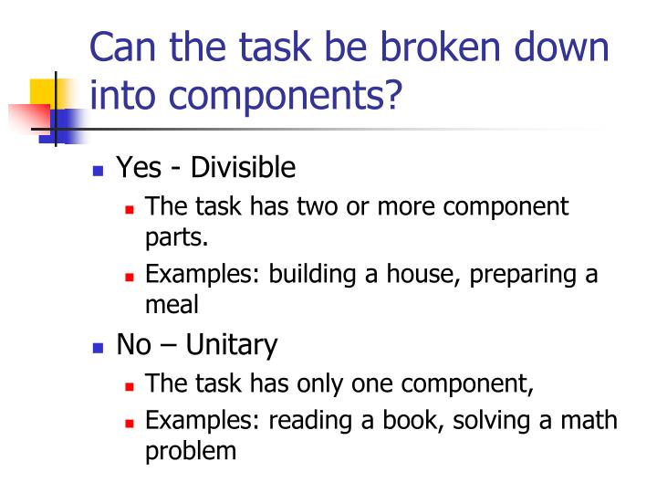 Can the task be broken down into components?