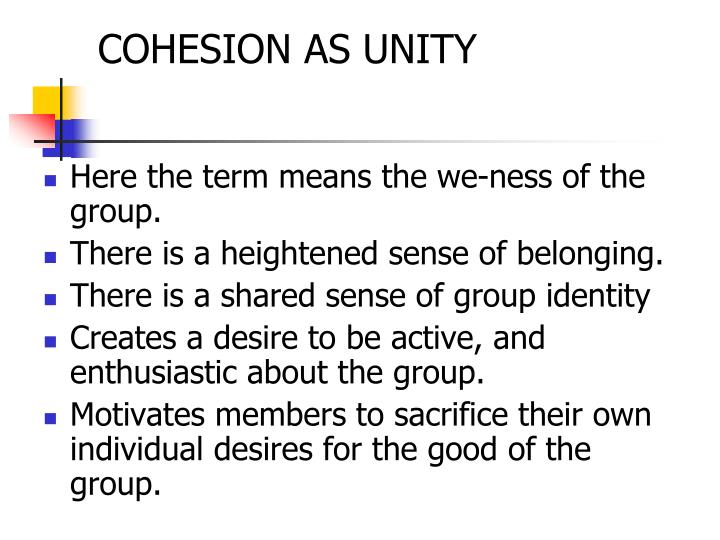 Cohesion as unity