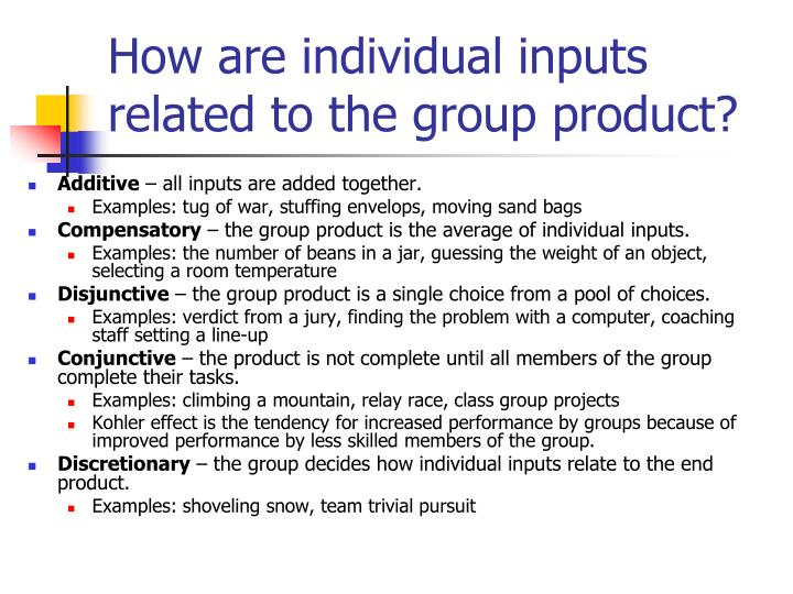How are individual inputs related to the group product?