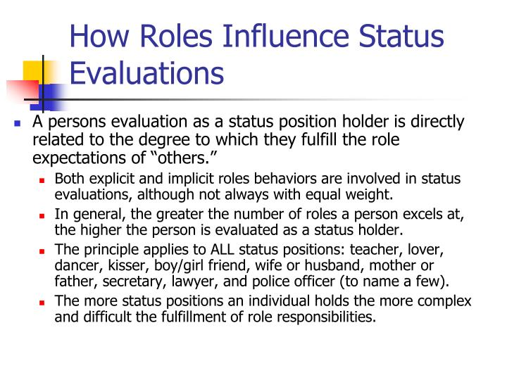How Roles Influence Status Evaluations