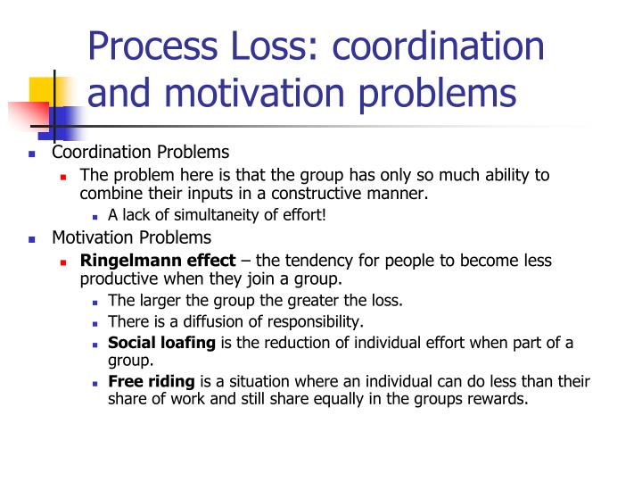 Process Loss: coordination and motivation problems