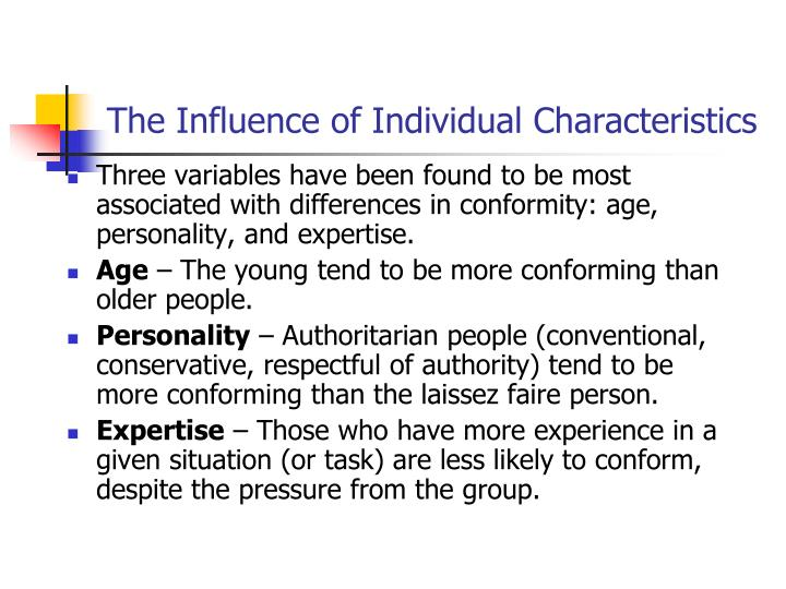 The Influence of Individual Characteristics