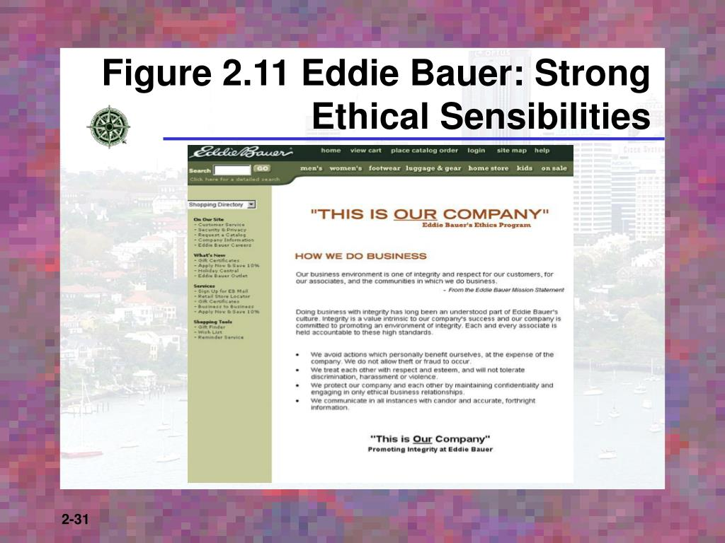 Figure 2.11 Eddie Bauer: Strong Ethical Sensibilities