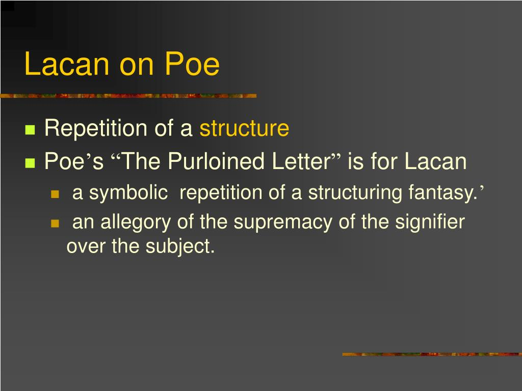 Lacan on Poe