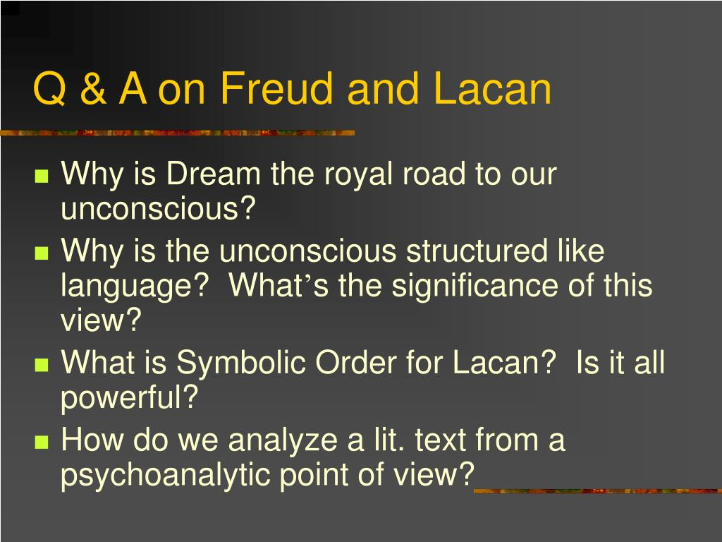 Q & A on Freud and Lacan