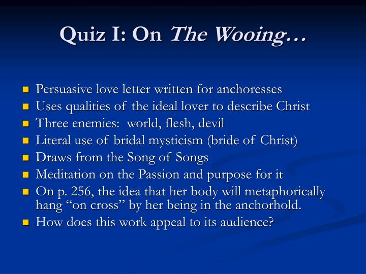 Quiz i on the wooing