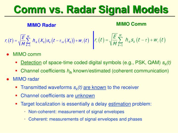 Comm vs. Radar Signal Models