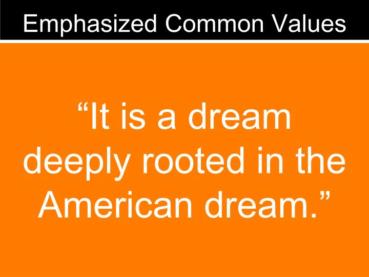 Emphasized Common Values
