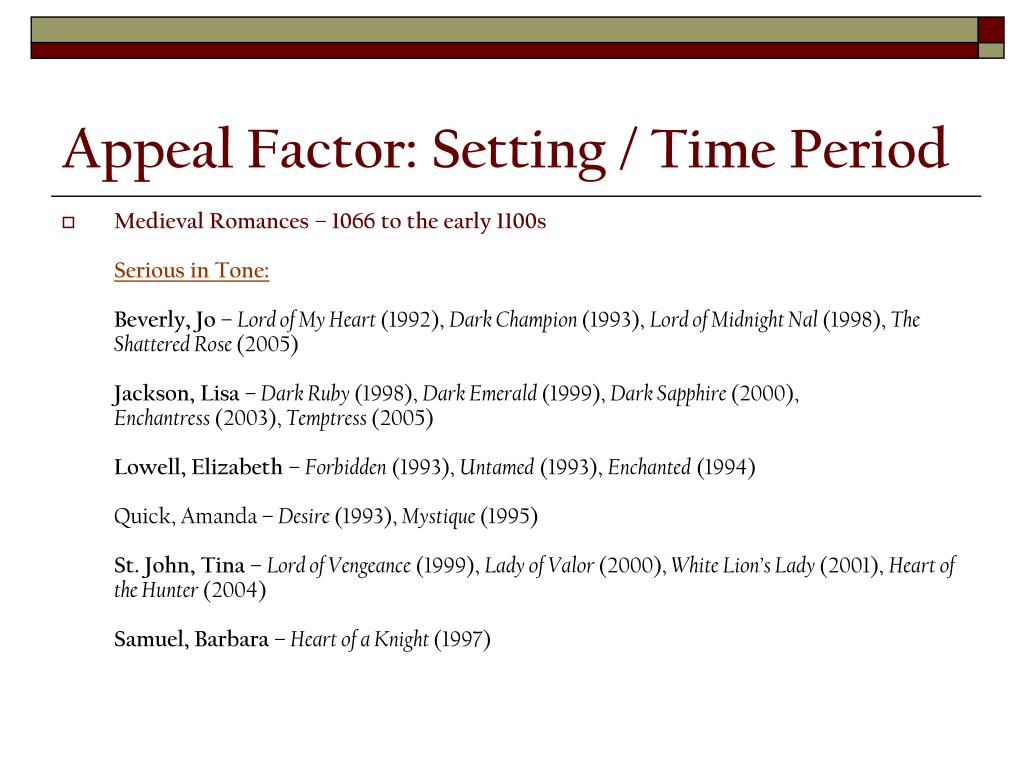 Appeal Factor: Setting / Time Period