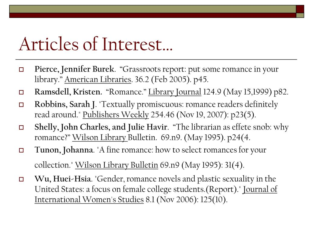 Articles of Interest…