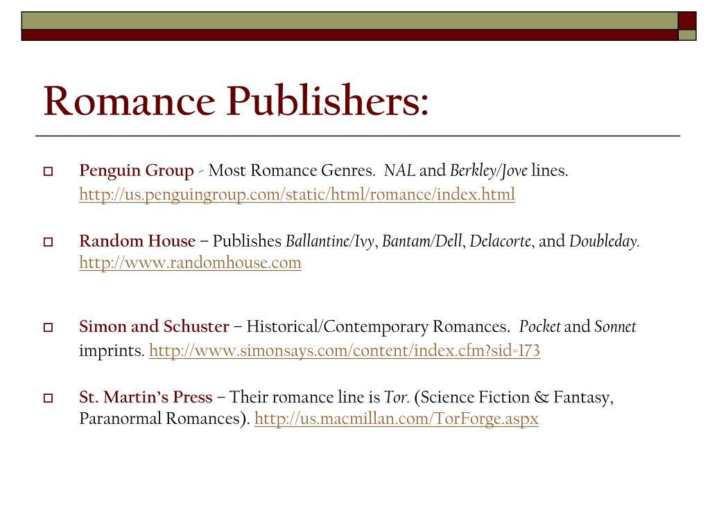 Romance Publishers: