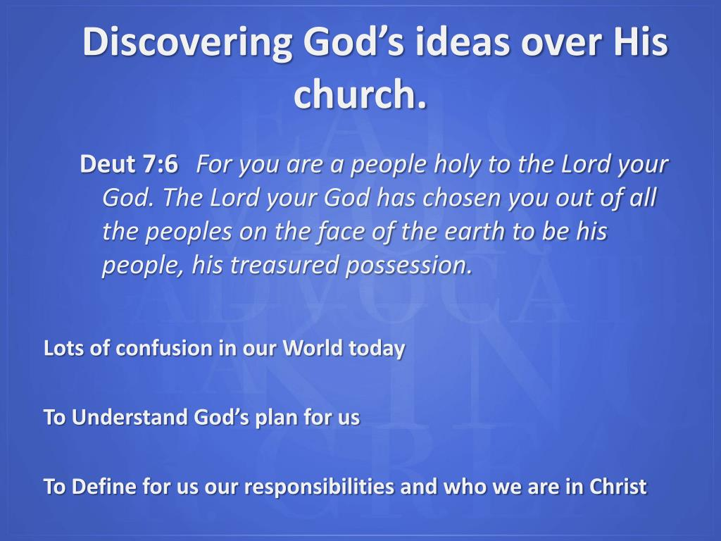 Discovering God's ideas over His church.