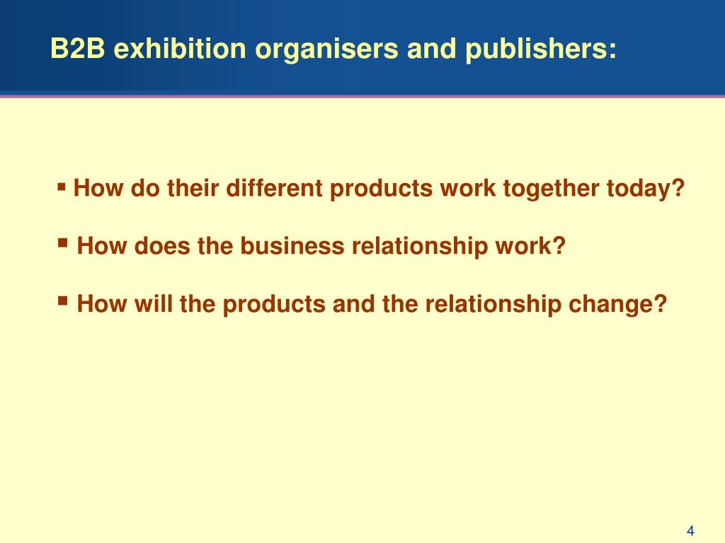 B2B exhibition organisers and publishers:
