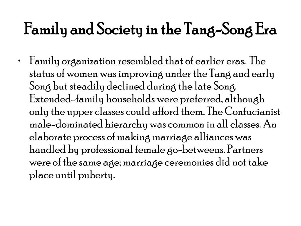 Family and Society in the Tang-Song Era