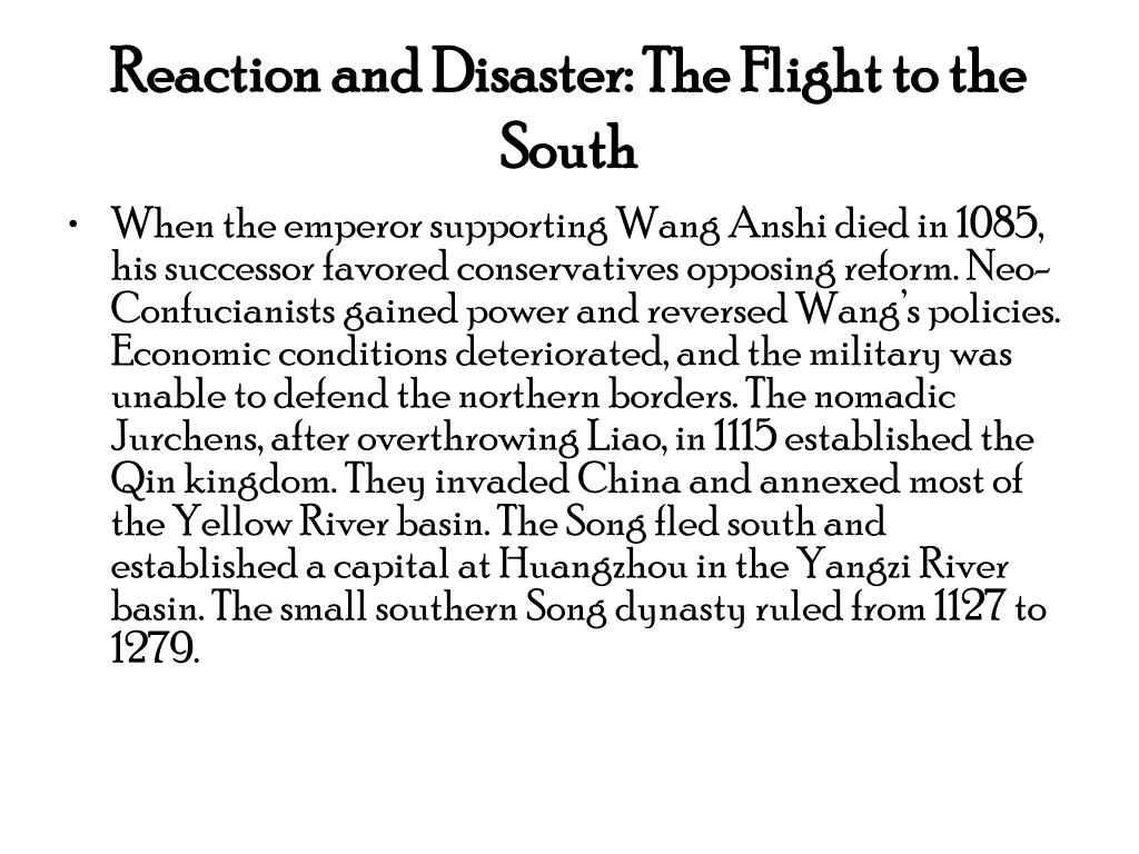 Reaction and Disaster: The Flight to the South